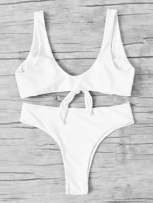 0a5074c3617aa Knot Front Top With High Leg Bikini Set