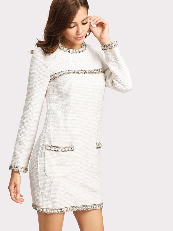 5d27d37c1c1 Whipstitch Trim Tweed Dress