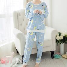 Multicolor Casual Long Sleeve Cartoon Pajama Sets Fabric has no stretch Spring Loungewear, size features are:Sleeve Length : Long Sleeve,