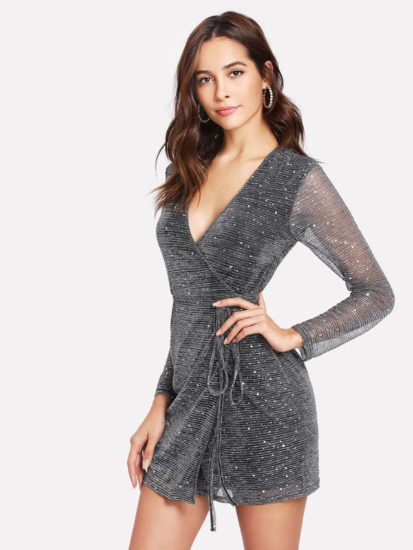 62f799d29a92 Cheap Sequin Detail Glitter Mesh Wrap Dress for sale Australia | SHEIN