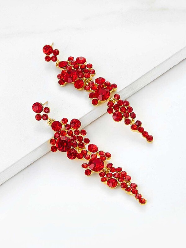 Rhinestone Design Drop Earrings 1pair, Red