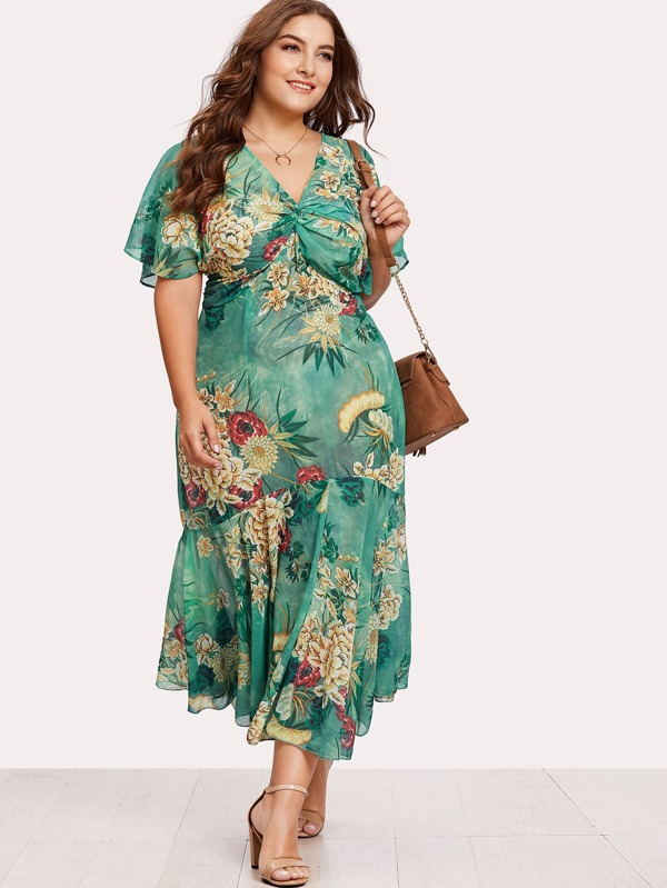 9eacb6cd9a41b Plus Twist Front Tiered Kimono Dress -SheIn(Sheinside)