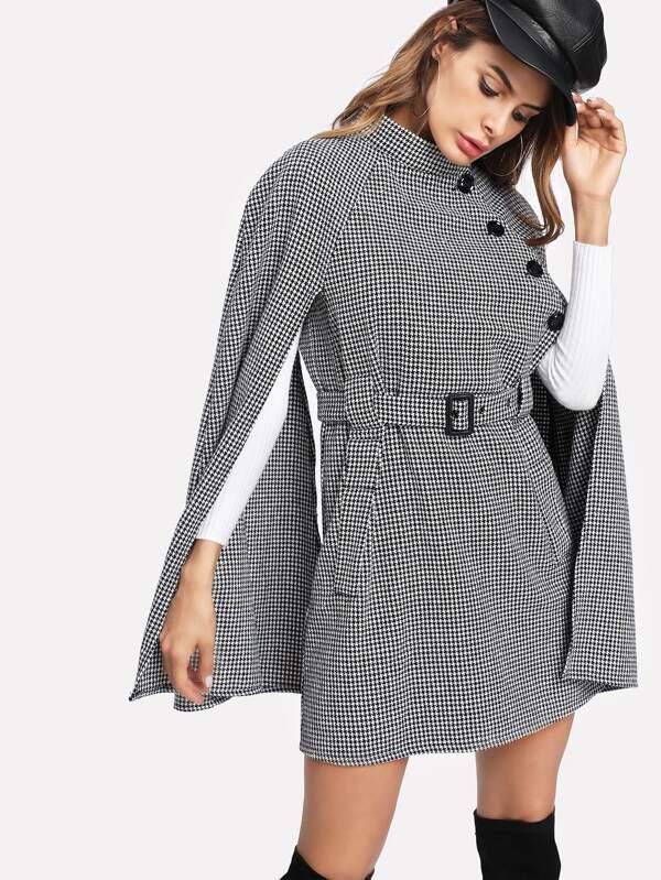 8b8512e0e7 Cheap Self Belted Houndstooth Cape Coat for sale Australia