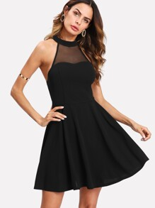 Mesh Yoke Open Back Skater Dress