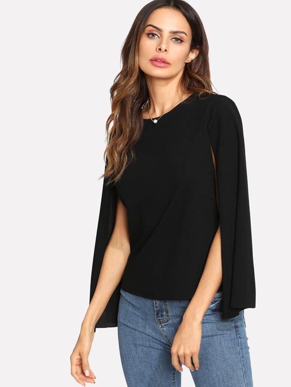 c18640046d Keyhole Back Cloak Sleeve Blouse | SHEIN
