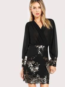 Sequin Flower Semi-sheer Wrap Bodice Dress