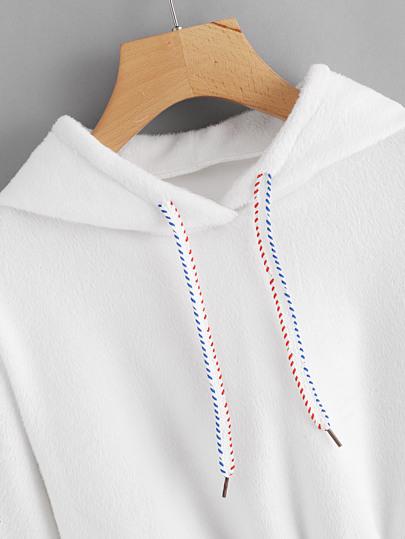 b3679bd6ca1bf0 Home · Clothing · Sweatshirts  Faux Fur Drawstring Crop Hoodie