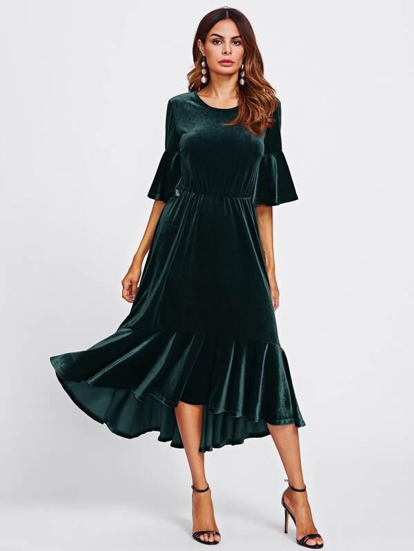 d548bc0d8 فستان-مخمل باكمام واسعة بكشكشة | شي إن