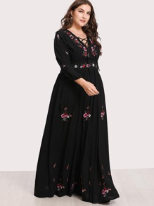 3597b7649 Plus Lace Up Front Floral Embroidered Maxi Dress   SHEIN