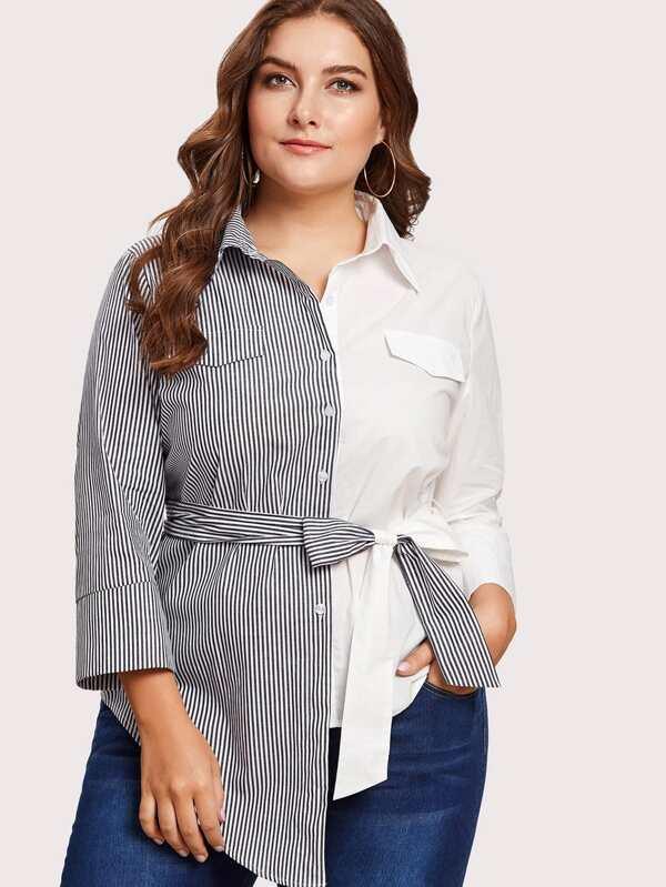 a0cc527965 Plus Self Tie Cut And Sew Shirt | SHEIN UK