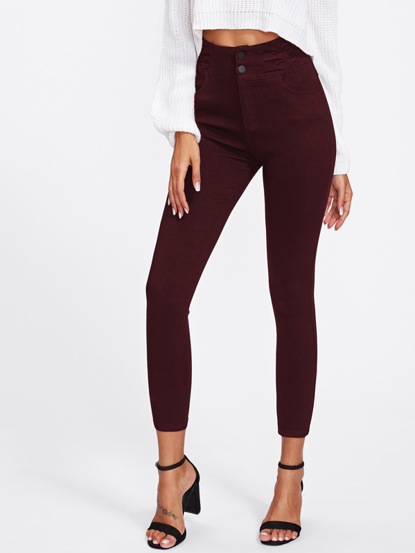 Ruched Waist Double Button Skinny Jeggings, Burgundy