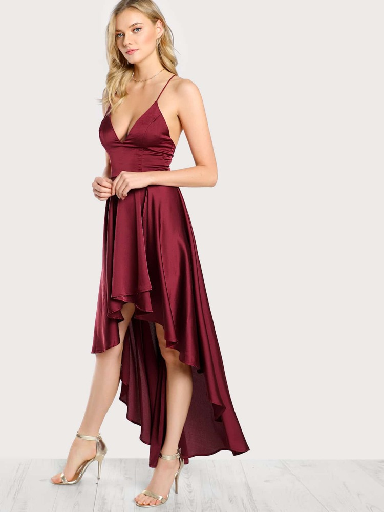72909e0d381eea8 Модное асимметричное платье на бретельках с открытой спиной | SHEIN