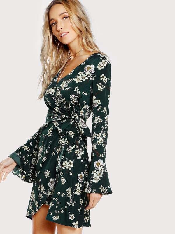 5f6893c470c Cheap Bell Sleeve Surplice Wrap Floral Dress for sale Australia