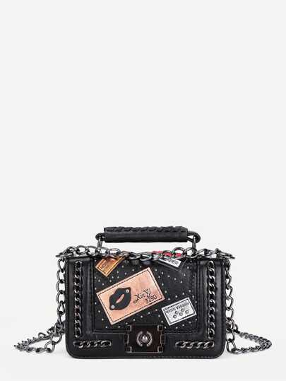 Patch Decorated Chain Satchel Bag
