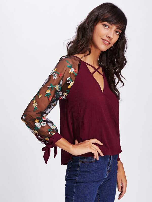 2eaba2673625af Floral Embroidered Lace Panel Criss Cross Surplice Blouse. AddThis Sharing  Buttons
