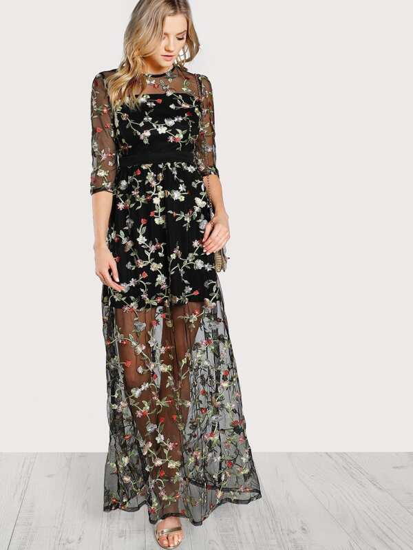 db7d5f92260 Flower Embroidery Mesh Overlay Maxi Dress | SHEIN