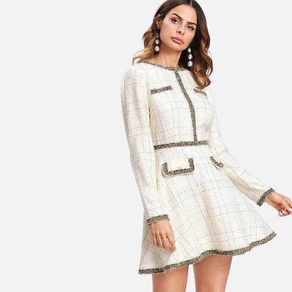 Contrast Trim Grid Tweed Dress, Beige