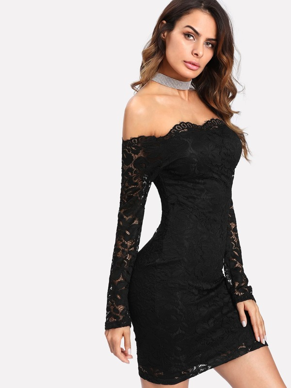86fde8752dd28 Floral Lace Overlay Bardot Bodycon Dress