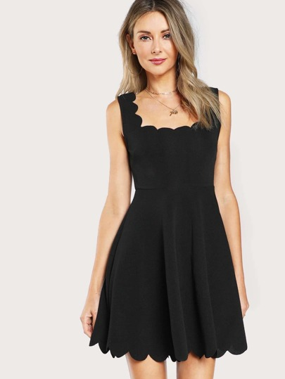 Scalloped Fitted & Flared Tank Dress