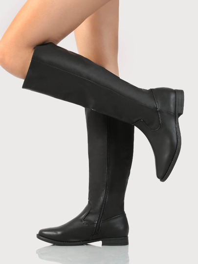 Plain Knee High Boots BLACK