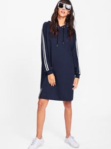 Tape Trim Letter Ribbon Detail Raglan Hoodie Dress