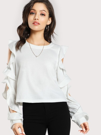 Cold SHoulder Ruffle Sleeve Sweatshirt OFF WHITE