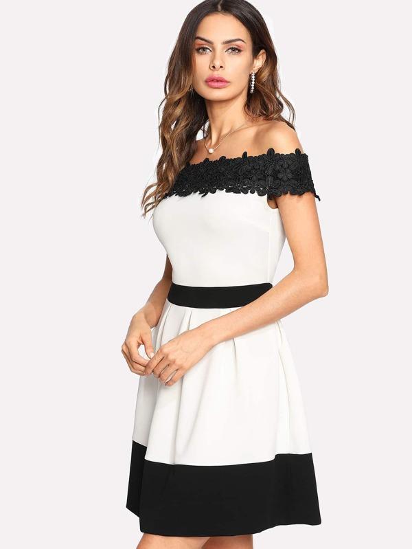Bardot Kleid mit Spitzen und Applikation - German SheIn(Sheinside)