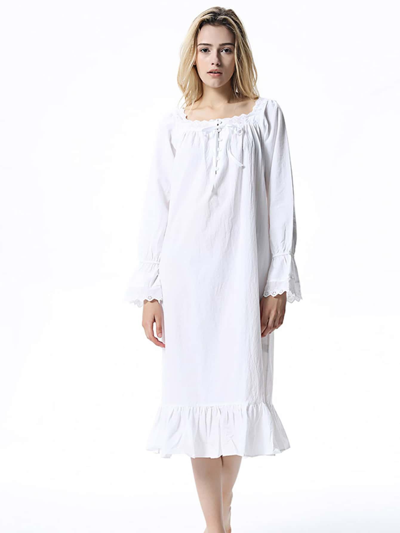 2cb462ab99 Lace Trim Ruffle Hem Night Dress EmmaCloth-Women Fast Fashion Online