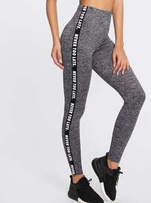 Letter Print Side Marled Knit Leggings