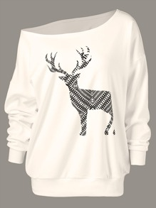 One Shoulder Elk Print Sweatshirt