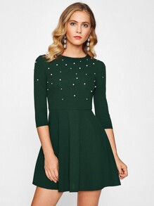 Pearl Embellished Fit & Flare Dress