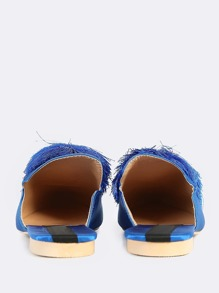 fc39f96bc4a Pom Pom Open Back Loafers BLUE