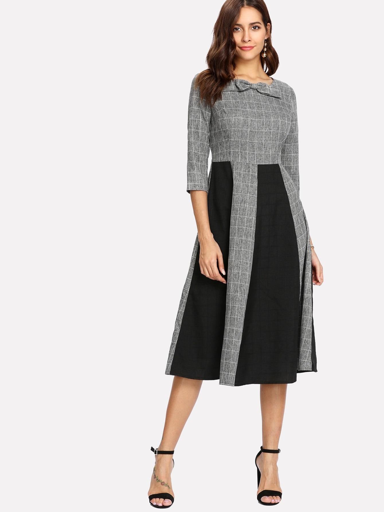 Bow Neck Contrast Panel Grid Dress