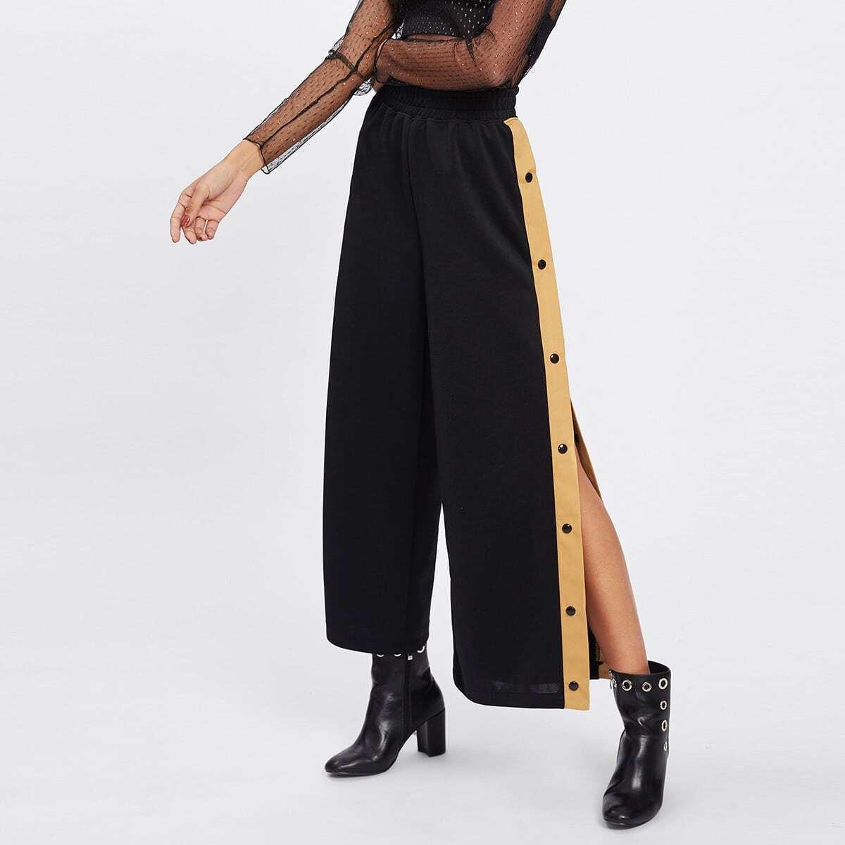 - Contrast Snap Button Side Culotte Pants