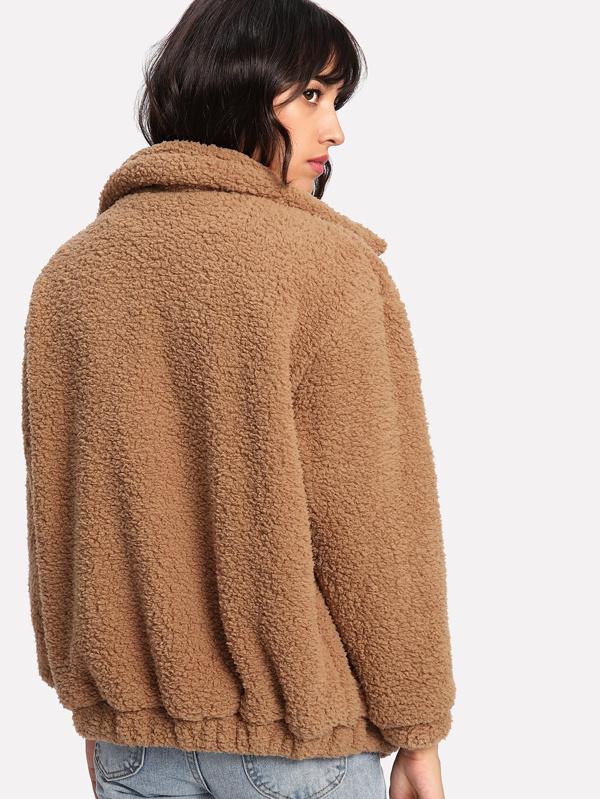 3fd2481014a Dual Pocket Faux Fur Teddy Jacket