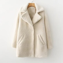 - Faux Fur Double Breasted Coat