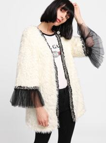 Contrast Mesh Cuff Faux Fur Teddy Coat