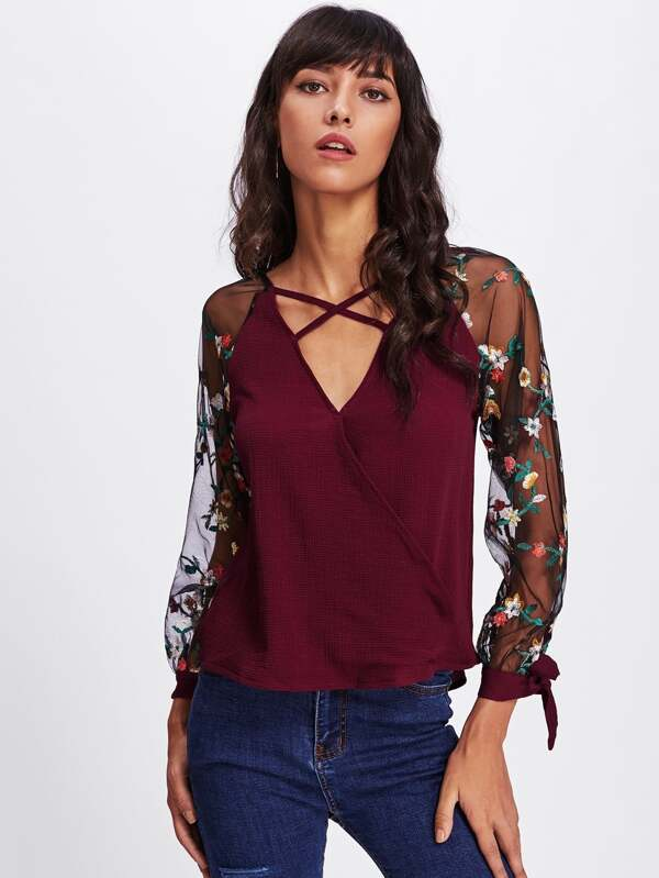 eeecbdb604e874 Floral Embroidered Lace Panel Criss Cross Surplice Blouse -SheIn(Sheinside)