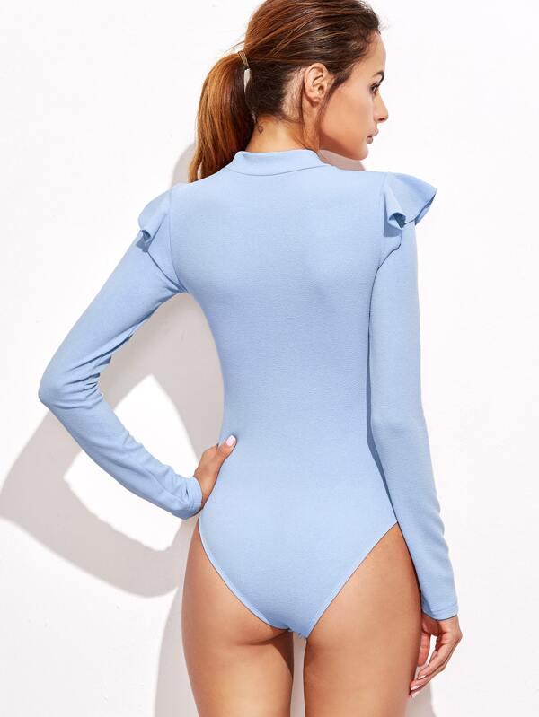 f9ec12375d Cheap Mock Neck Frill Detail Textured Bodysuit for sale Australia | SHEIN