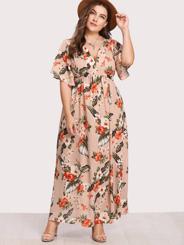 Plus V Notch Front Belted Tropical Dress