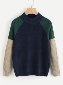 Raglan Sleeve Color Block Sweater