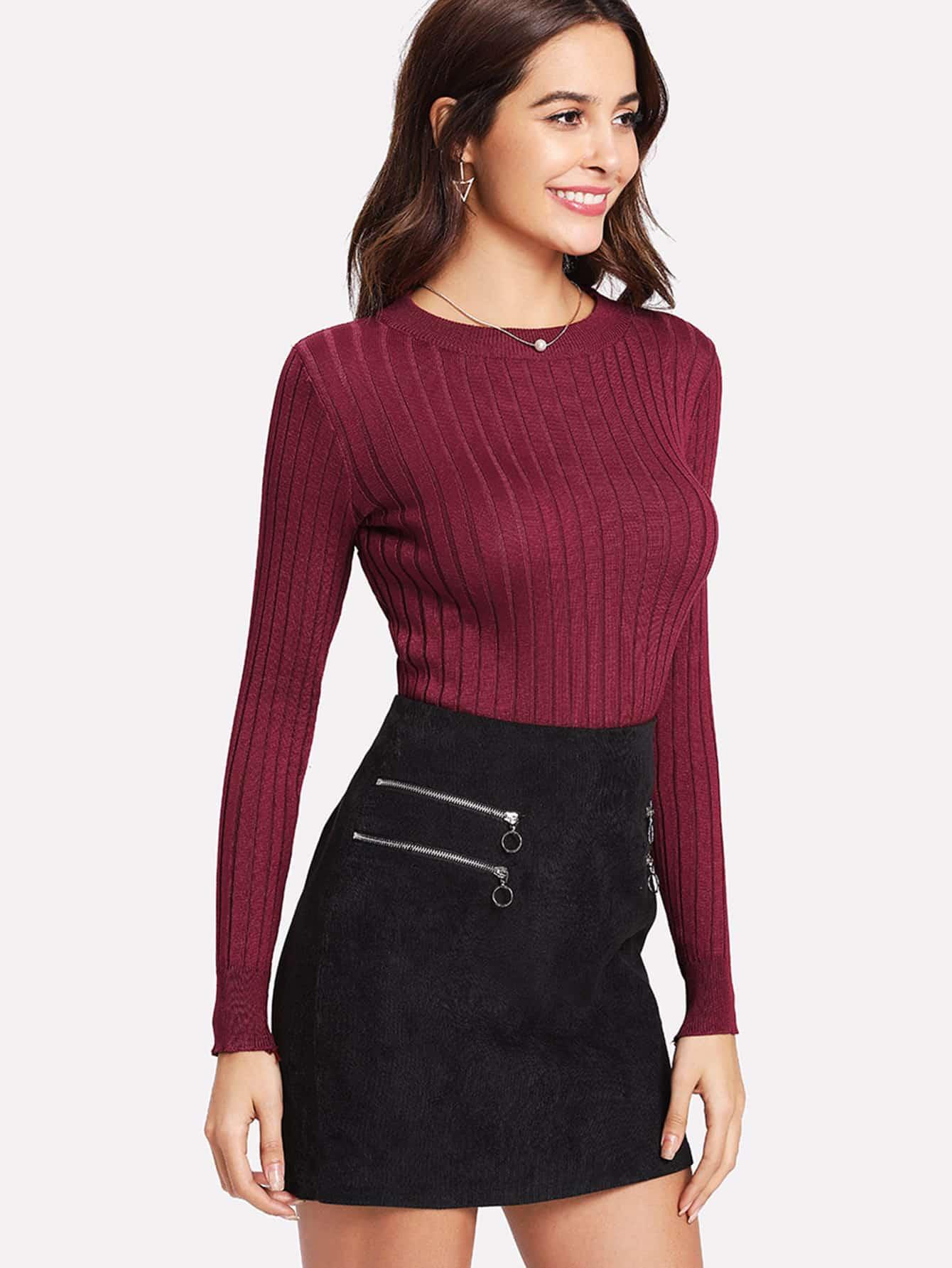 Rib Knit Turtleneck Sweater   ROMWE