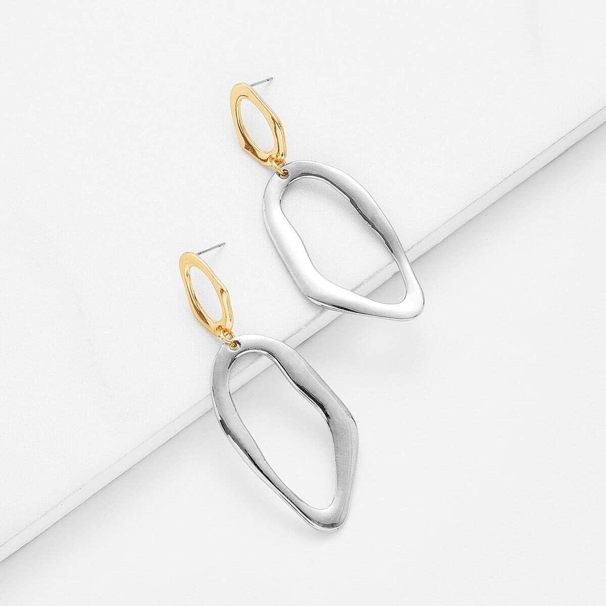 - Two Tone Metal Drop Earrings