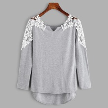 - Contrast Crochet V Cut High Low Marled Tee