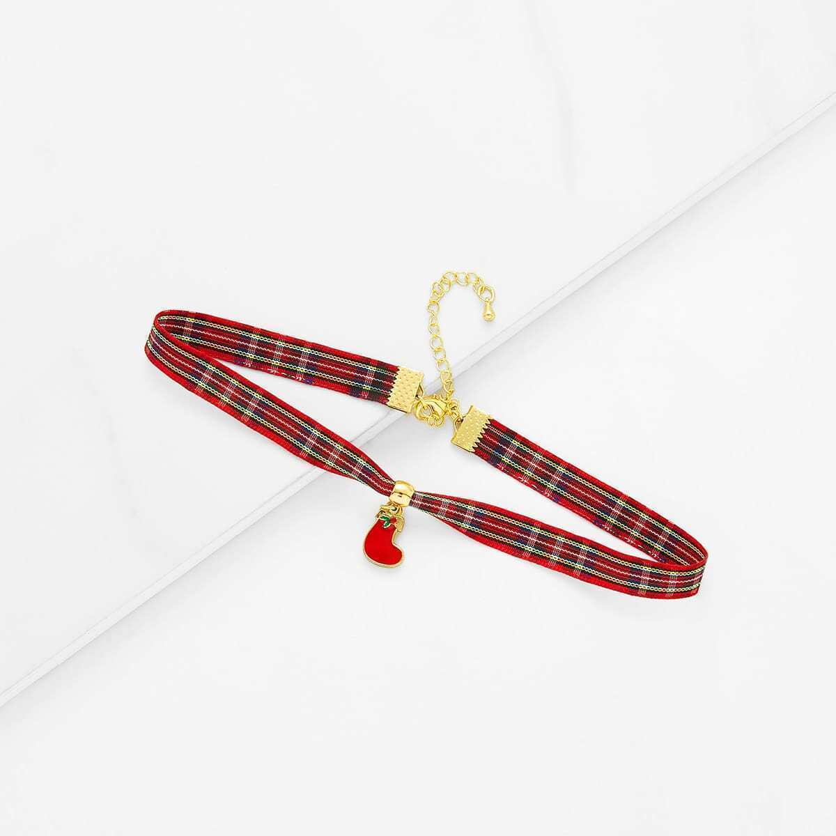 - Christmas Sock Detail Gingham Print Choker
