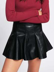 5929d85a08 Faux Leather Flare Skirt   SHEIN