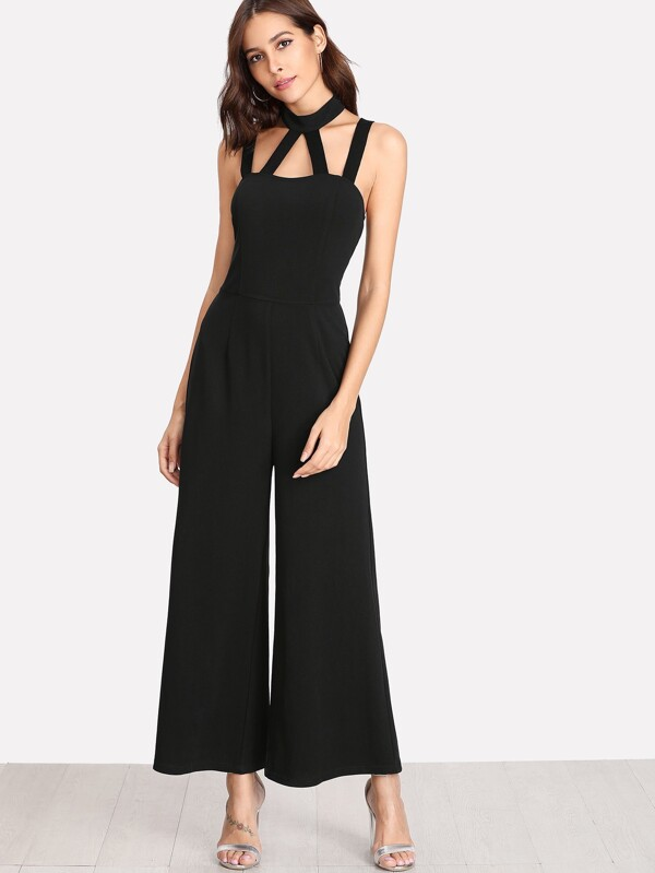 e34145f6c5 Caged Front Solid Wide Leg Jumpsuit | SHEIN