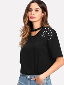 Pearl Beaded Choker Neck Tee