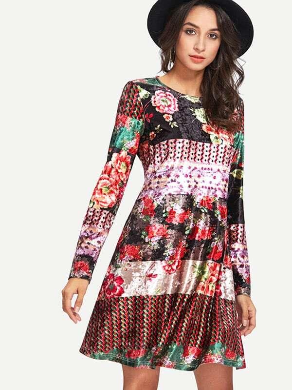 662cb5389a Mixed Print Swing Velvet Dress | SHEIN IN