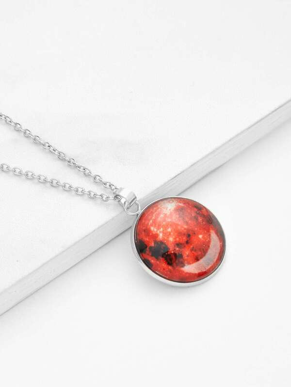 913566466c Luminous Round Pendant Link Necklace | SHEIN